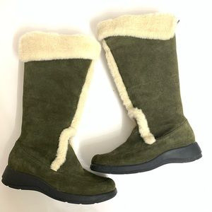 Aerosoles Olive Suede Sherpa Tall Boots 9.5 EUC
